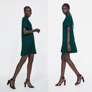 Zara Emerald Pleated Shift Dress Kate Middleton